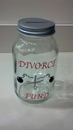 Divorce Fund 32 ounce Jar Piggy Bank by ThatGlassStore on Etsy, $10.00