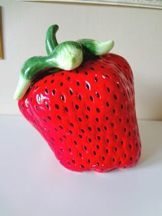 Retro Cookie Jar //// Strawberry  Extremely by ScootersVintageShop
