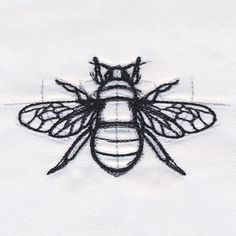 Sketched-style lines bring this bee design alive on pillows, T-shirts, and more. - Sketched-style lines bring this bee design alive on pillows, T-shirts, and more. Source by WithLuna - Embroidery Designs, Bee Embroidery, Embroidery On Clothes, Cross Stitch Embroidery, Embroidery On Tshirt, Brush Embroidery, Embroidered Shirts, Embroidery Needles, Urban Threads