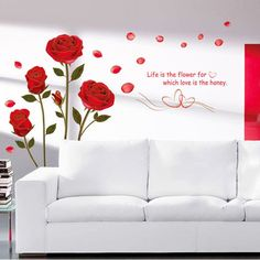 Removable Vinyl Red Rose Flower Wall Stickers Decal Romantic Art Home Decor Sale