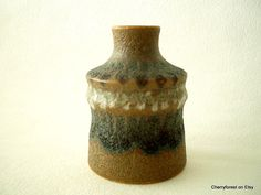 Haldensleben VEB vase 2944, Vintage East German ceramics. 11 cm ,Lava glaze. by Cherryforest on Etsy