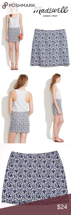 """Madewell Blue Bud Mini Skirt ✔️100% Cotton ✔️Length: 16"""" ✔️Waist Flat: 15.5"""" approx. ✔️Back Zip ✔️Lined ✔️Excellent Used Condition ✔️2027-13 Madewell Skirts"""