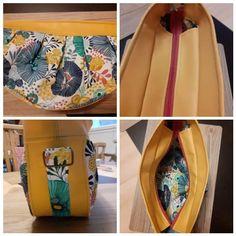 Sac Cancan en simili jaune et motifs printanier cousu par Cyrielle - Patron Sacôtin