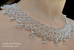 Free pattern for necklace Silver Net
