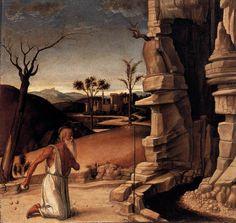 Giovanni Bellini - san Girolamo nel deserto, Predella Pala dell'Incoronazione (Pesaro) - 1471-1474 circa - Musei Civici di Pesaro