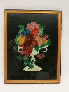 VINTAGE REVERSE PAINTING WITH FOIL & GESSO ON GLASS, FRAMED 1931 Early American, American Art, Foil Art, Kitchen Art, Bead Art, Retro Vintage, Objects, Victorian, Salad