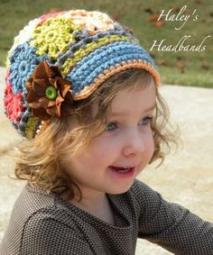 Patchwork Crochet Brimmed Slouchy Newsboy Beanie Hat - I love the colors and the pattern!