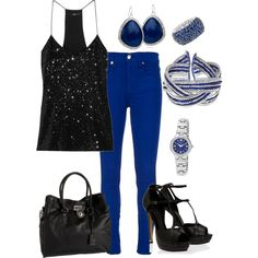 black and blue, created by hedufed on Polyvore