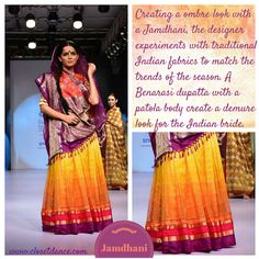 Gaurang Shah's amalgamation of weaves of two states of India. Patola from Gujarat and Benaras from Uttar Pradesh. The Lahenga is a reinvented Benarasi weave whereas the dupatta is a combo of patola and benarasi.  Description by Pinner Mahua Roy Chowdhury