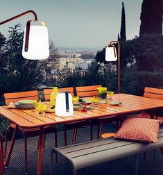 The Fermob Balad Lamp is a sleek and fun rechargeable outdoor lantern,perfect for summer dining al fresco.