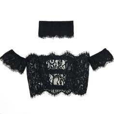 Yoins Off-The-Shoulder Lace Crop Top with Choker in Black (5.290 CLP) ❤ liked on Polyvore featuring tops, black, crop top, sheer crop top, layered tops, off shoulder tops and sheer top