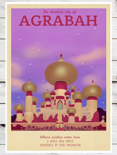 Retro Travel Poster - Disney - Atlantica - MANY SIZES - The Little Mermaid Under the Sea Ariel Magic Kids Children Film Typography Art Print...