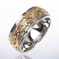 14K 2 TWO TONE GOLD MEN'S WEDDING BAND VICTORIAN DESIGN | eBay