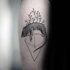 Unique Rat Triangle Male Leg Calf Tattoo Ideas