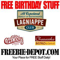 FREE BIRTHDAY STUFF – Cheesecake Bistro - FREE BDay Entree