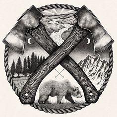 Full Sleeve Tattoo Design, Forearm Tattoo Design, Holz Tattoo, Scandinavian Tattoo, Camping Tattoo, Patriotic Tattoos, Forest Tattoos, Ink Illustrations, Nature Illustration