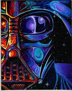 VaderFace Darth Vader art colorful.  Karl Johnsen kjartist