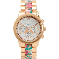 Aeropostale Floral Metal Watch (203.400 IDR) ❤ liked on Polyvore featuring jewelry, watches, bermuda turquoise, aeropostale watches, floral watches, flower jewelry, charm watches and flower charms