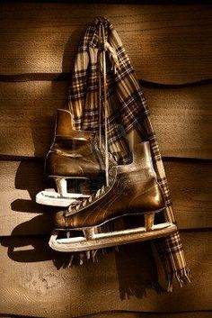 ♂ Chocolate brown Old hockey skates with scarf hanging on a wall/ Sepia tone filter Tartan, Winter Cabin, Cozy Cabin, Brown Eyed Girls, Brown Shades, Beige, Ice Hockey, Hockey Mom, Winter Time