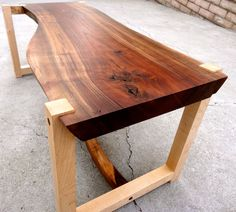 All Wood Walnut Slab Table with Hard Maple Legs by LumaWorks