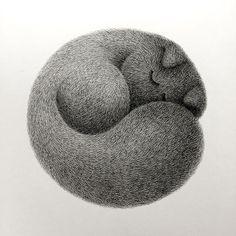 """789 次赞、 13 条评论 - Kamwei Fong / Bo&Friends (@kamweiatwork) 在 Instagram 发布:""""Kitty No.10 - Back to the origin. The Furry Thing series. ✨✨A real sleeping fur ball ⚫️ . . .…"""""""