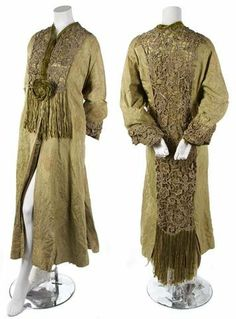 A Callot Soeurs Green Brocade Evening Coat, early 20th century, with metallic lace trim throughout, floral closure with fringe at front. Labeled: Callot Souers 6 Rue de la Paix.