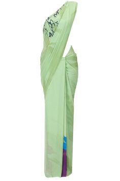 Pista green floral print sari available only at Pernia's Pop-Up Shop