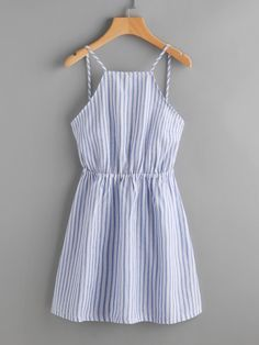 Shop Striped Cut Out Bow Tie Open Back Cami Dress online. SheIn offers Striped Cut Out Bow Tie Open Back Cami Dress & more to fit your fashionable needs. Trendy Dresses, Trendy Outfits, Cute Dresses, Casual Dresses, Cool Outfits, Summer Outfits, Summer Dresses, Long Dresses, Sparkly Dresses