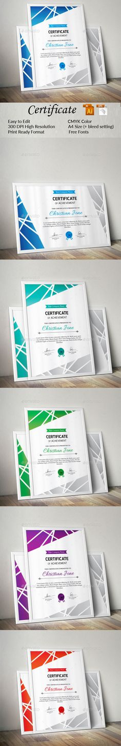 #Certificate - Certificates #Stationery Download here: https://graphicriver.net/item/certificate/18941110?ref=alena994