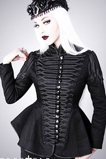 Restyle womens' black hourglass military jacket with braid trim available at www.ipso-