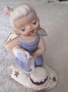 Vintage Aquarius Figurine Angel Blue White Zodiac Collectible