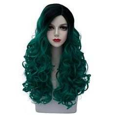 Cosplayvoice Lolita Green Mixed Black Long 60CM Curly Fashion Party Cosplay Wig ** Check out the image by visiting the link.