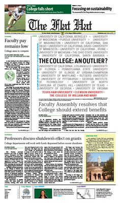 The Flat Hat, front page, October 8, 2013 #funding #samesexpartners #professors