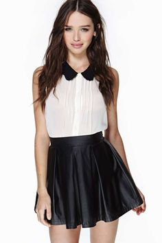 Nasty Gal Ultimate Rebel Skirt- sweet and edgy White Fashion, Love Fashion, Fashion Outfits, Womens Fashion, Leather Skater Skirts, Black Leather Skirts, Skater Skirt Outfit, Skirt Outfits, Cute Skirts