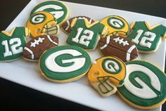 Green Bay Packers  NFL Cookies  Football by TheTreatsbyTrishShop, $35.00 good idea to make eagles cookies!