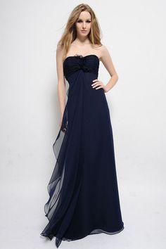 Strapless Floor Length Navy Chiffon Slight Sweetheart Neck Ruched Dress