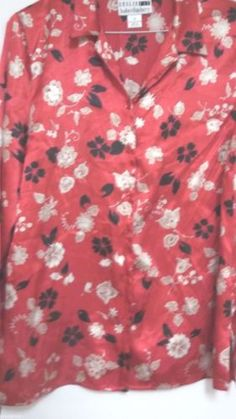 Sz-12-Floral-Blouse-Polyester-Career-Casual-Red-White-Black-Long-Sleeves