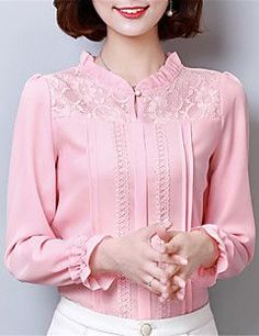 Cute pink lace tops ,need to try Blouse Patterns, Blouse Designs, Fancy Tops, Blouse And Skirt, Blouse Styles, Shirt Blouses, Blouses For Women, Designer Dresses, Beautiful Dresses