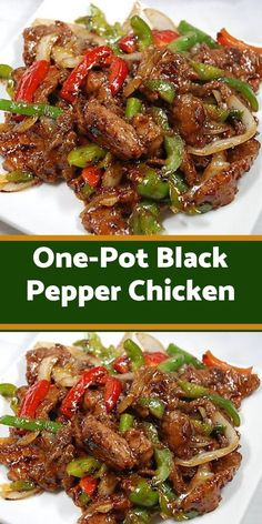 One-Pot Black Pepper Chicken - Healthy Food And Delicious Re. - One-Pot Black Pepper Chicken – Healthy Food And Delicious Recipes Recipes With Chicken And Peppers, Chicken Stuffed Peppers, Chicken With Bell Peppers, Chicken Bell Pepper Recipes, Recipes With Ginger, Meals With Chicken, Ww Recipes, Cooking Recipes, Healthy Recipes