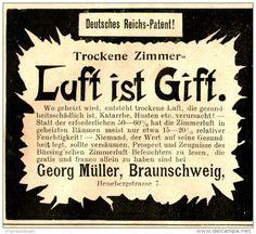 Original-Werbung/ Anzeige 1897 - BÜSSING'SCHER ZIMMERLUFT- BEFEUCHTER / GEORG MÜLLER - BRAUNSCHWEIG - ca. 80 x 75 mm