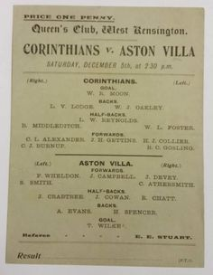 This mid match card is in fantastic condition given it's age. Corinthians played Aston Villa in a friendly at Queen's Club in West Kensington, Aston Villa Fc, Super Club, Sir Alex Ferguson, Football Program, Corinthian, Manchester United, Blood, Soccer, Football