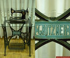 vintage sewing machine. COOL idea to put a modern glass top on the treadle base, you can see everything!