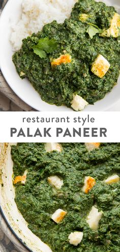 This palak paneer tastes just like the Indian restaurant! Rich and creamy, made from spinach and the creamy Indian cheese, paneer, this curry is a healthy vegetarian dinner that youll fall in love with. Also known as saag paneer. Saag Paneer Recipe, Paneer Recipes, Palak Paneer, Indian Food Recipes, Asian Recipes, Indian Vegetarian Recipes, Indian Cheese, Vegetarian Curry, Healthy Dinner Recipes