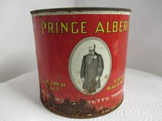 Who had a dad or grandpa that had his pipe and Prince Albert Tobacco? I sure did! Free US shipping on all store inventory.  This taller 6 3/4 by 6 diameter very rusty Prince Albert can with red black and white colors. A nice man cave gift for him. Would also be a cute outdoor garden flower pot or any distressed décor.  We are listing several more coffee cans/tobacco tins in different sizes and brands and all of them are scruffy! Its 5 1/4 in diameter and 4 7/8 tall, more o...