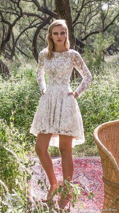 limor rosen 2017 bridal long sleeves bateau neckline full embellishment pretty lace romantic above the knee short wedding dress with pockets scoop back (kylie) mv -- Limor Rosen 2017 Wedding Dresses