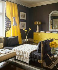 paleta cor cinza, amarelo e marrom  ACHADOS DE DECORAÇÃO