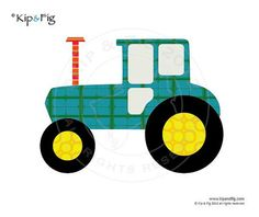 Tractor applique template PDF applique pattern by KipandFig