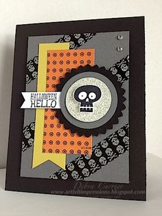 "A Freaky Fall : Halloween Hello Paper: Basic Black, Basic Grey, Summer Starfruit, silver glimmer paper, Whisper White, Witch's Brew designer paper Ink: black StazOn Accessories: Witch's Brew washi tape, 2 3/8"" scallop circle punch, 1 3/4"" circle punch, 1 3/8"" circle punch, rhinestones, dimensionals   Read more: http://www.splitcoaststampers.com/gallery/photo/2406283#ixzz2b8puVTxC"