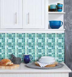 Kitchen bathroom Tile Decals Vinyl Sticker : by SnazzyDecals Kitchen Wallpaper, Wall Wallpaper, Adhesive Wallpaper, Tile Decals, Wall Tiles, Kitchen Backsplash, Kitchen Cabinets, Kitchen Mosaic, Rental Kitchen