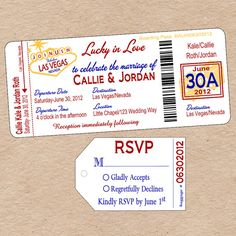 Las Vegas Boarding Pass Invitation with matching Luggage Tag Response Card! Perfect to announce a destination wedding in Vegas! By Decorable Designs